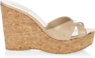Jimmy Choo PERFUME Nude Patent Leather Wedge Sandals