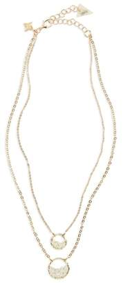 Panacea Crystal Circle Double Chain Necklace