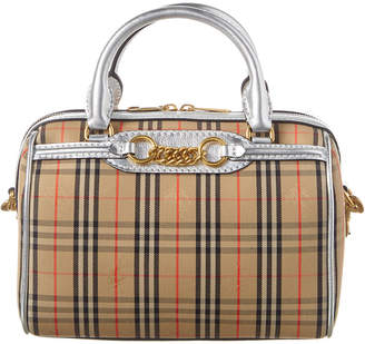 Burberry Small 1983 Check Link & Leather Bowling Bag