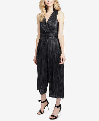 Rachel Roy Metallic-Pleated Cropped Jumpsuit