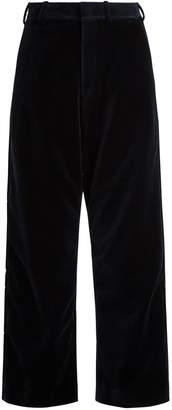 Vetements X Brioni wide-leg velvet cropped trousers
