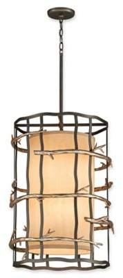 Troy Lighting Adirondack 6-Light Small Ceiling Pendant in Silver Leaf with Beige Linen Shade
