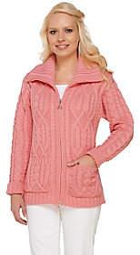 Aran Craft Merino Wool Zip Front Cardigan w/Pockets
