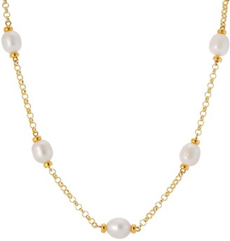 Auree Jewellery Courtfield Freshwater Pearl & Yellow Gold Vermeil Necklace