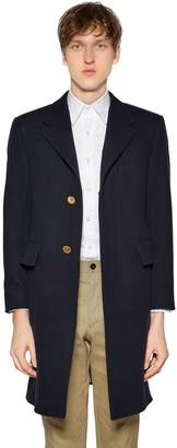 Thom Browne Chesterfield Wide Lapel Wool Felt Coat