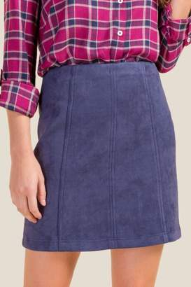 francesca's Maybel Suede Skirt - Ink Navy