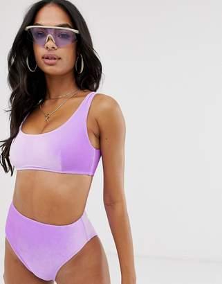 0d9e89db5d6 Asos Design DESIGN mix and match velvet crop bikini top in lilac