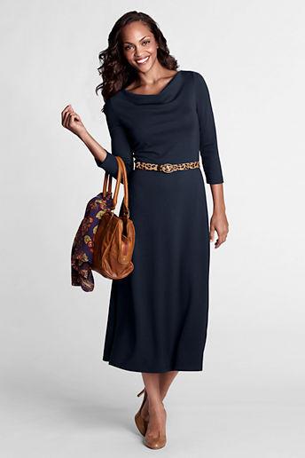 Lands' End Women's Regular 3/4-sleeve Knit Drapeneck Dress