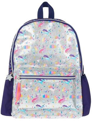 Angels By Accessorize Girls Angels by Accessorize Silver Super Unicorn Print Backpack - Silver