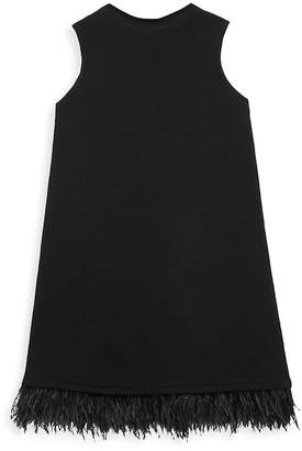 Milly Feather Shift Dress - Black, Size 4-5