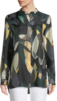 Lafayette 148 New York Brayden Ornamental Mosaic Silk Blouse, Plus Size