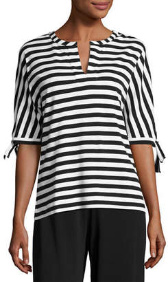 Joan Vass Striped Tie-Cuff Tunic