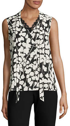 Karl Lagerfeld PARIS Lace Neck Floral Sleeveless Blouse