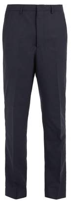 Ami Mid Rise Tapered Leg Wool Trousers - Mens - Navy