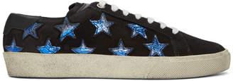 Saint Laurent Black Suede Court Classic Sneakers