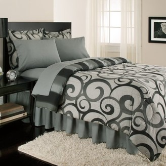 Sloane Royale Home Street Alessandro Scroll, Reversible, Complete Set With Bonus Bed Skirt By Royale Linens