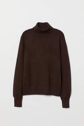 H&M Fine-knit Turtleneck Sweater - Brown
