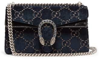 Gucci Dionysus Gg Velvet Shoulder Bag - Womens - Navy