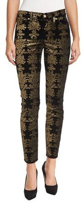 7 For All Mankind The Skinny Ankle Brocade Velvet Jeans $199 thestylecure.com