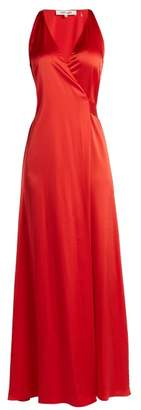 Diane von Furstenberg Satin Wrap Dress - Womens - Red