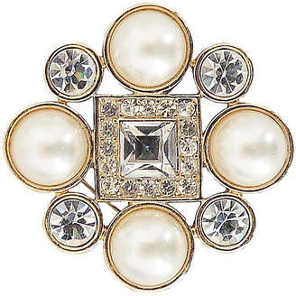 One Kings Lane Vintage 1980s Monet Goldtone Faux-Pearl Brooch - Carrie's Couture