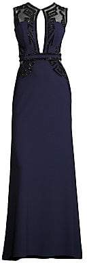 Alberto Makali Women's Embellished Mesh Panel Gown