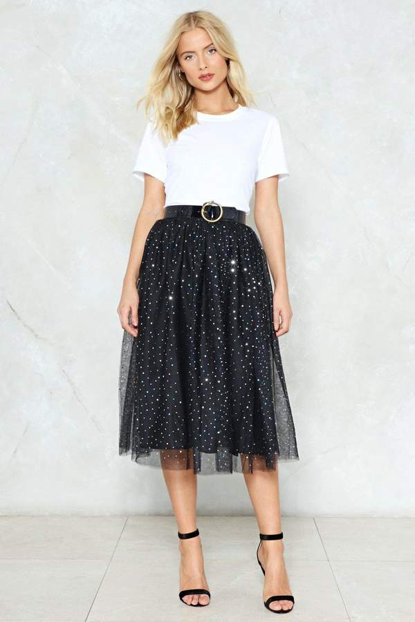 nastygal Rise and Sparkle Sequin Tulle Skirt