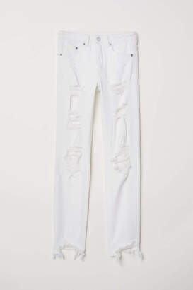 H&M Skinny Ankle Jeans - White denim/Trashed - Women