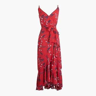 J.Crew Petite drapey ruffle faux-wrap dress in floral print
