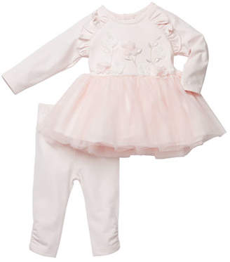 Miniclasix Floral-Embroidered Tutu Top w/ Ruched Leggings, Size 3-24 Months