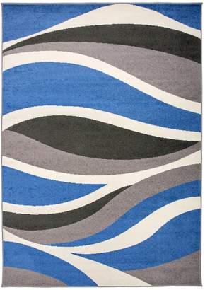 Blue Area World Rug Gallery Nevada Wavy Contemporary Rug