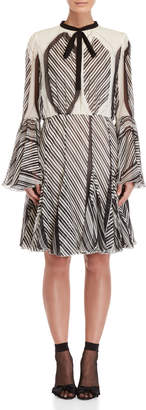 Giambattista Valli Printed Tie-Neck Bell Sleeve Silk Dress