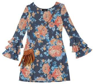 Amy Byer Floral Ruffled Sleeve Knit Dress (Big Girls)