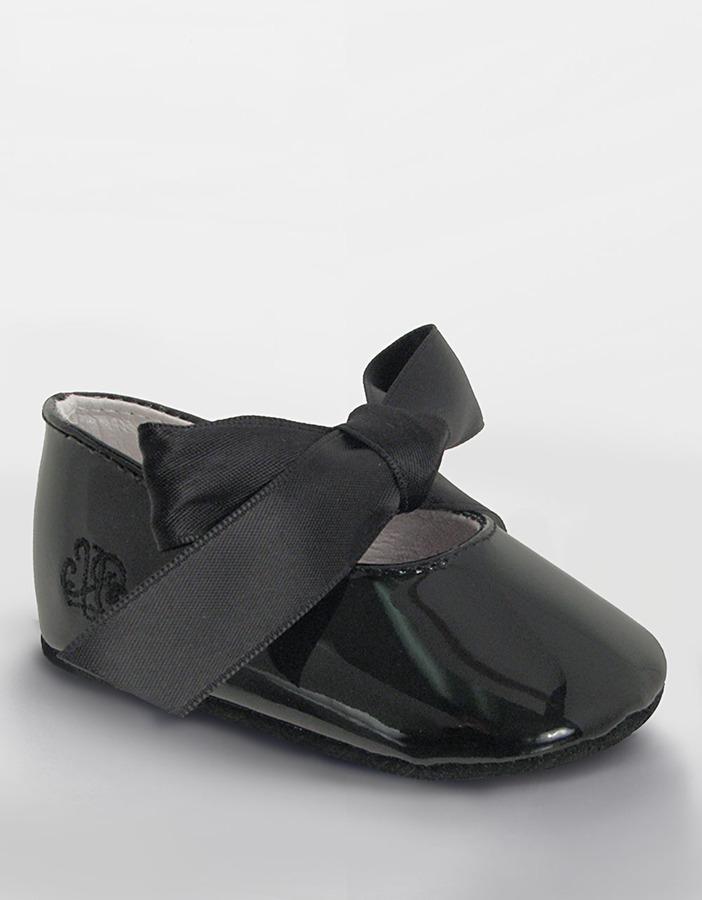 RALPH LAUREN CHILDRENSWEAR Infants Black Patent Ballet Slippers -Smart Value
