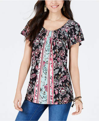 Style&Co. Style & Co Printed Pleated-Neck Top