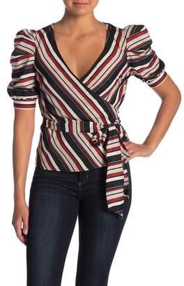 A.Calin Striped Puff Sleeve Wrap Top