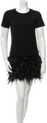 DKNY Feather-Trimmed Mini Dress w/ Tags $185 thestylecure.com