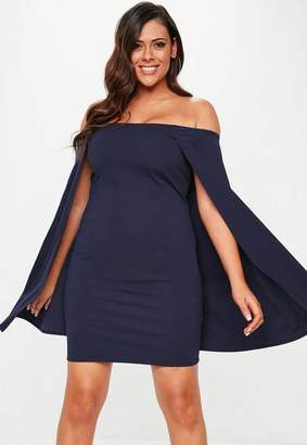 Missguided Plus Size Navy Cape Sleeve Mini Dress