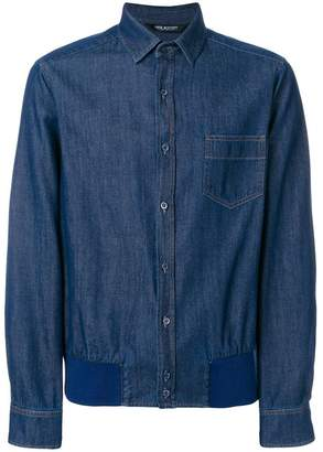 Neil Barrett gathered hem denim shirt