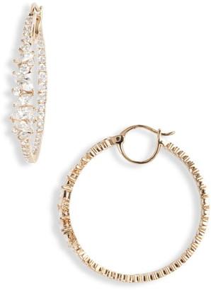 Nadri Tango Scattered Inside Out Hoop Earrings