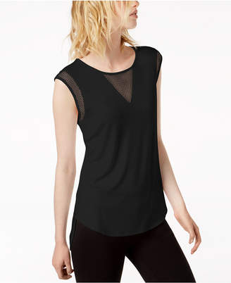 Bar III Mesh-Inset T-Shirt, Created for Macy's