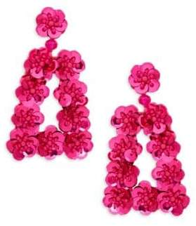 Ava & Aiden Goldtone Sequin & Bead Cutout Statement Earrings
