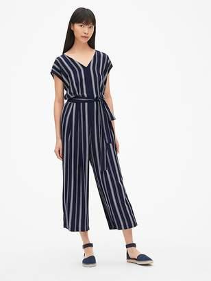 Gap Stripe Cap Sleeve Tie-Belt Wide-Leg Jumpsuit