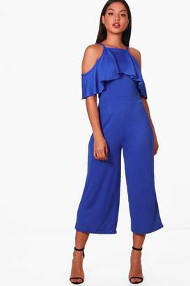 boohoo Open Shoulder Frill Detail Culotte Jumpsuit
