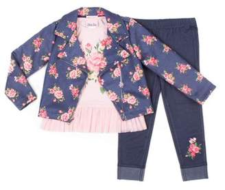 Little Lass Faux Suede Floral Moto Jacket, Long Sleeve Peplum Top & Knit Denim Jeans, 3pc Outfit Set (Toddler Girls)