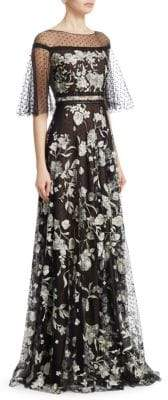 Marchesa Flutter Sleeve Flock Gown