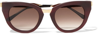 Thierry Lasry - Snobby Cat-eye Matte-acetate And Gold-tone Sunglasses - Burgundy $510 thestylecure.com