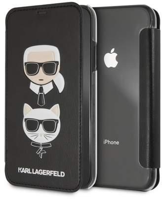 Karl Lagerfeld Black PU Embossed Booktype iPhone XR Case