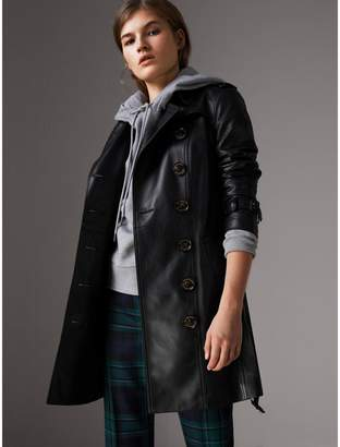 Burberry Lambskin Trench Coat , Size: 02, Black
