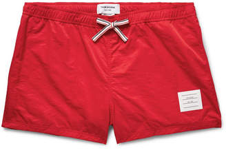 Thom Browne Short-Length Stripe-Trimmed Shell Swim Shorts